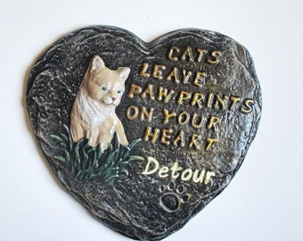 Cat memorial - Cat memorial stone - Cat loss - Pet memorial - Pet memorial stone - Cat mom - Cat lover gift -  Cat paws - Cat paw prints