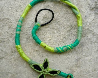 Hippy removable hairwrap - 41cm green and black