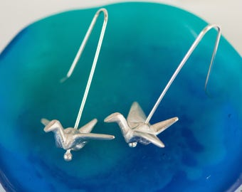 Origami Crane Earrings in Sterling Silver