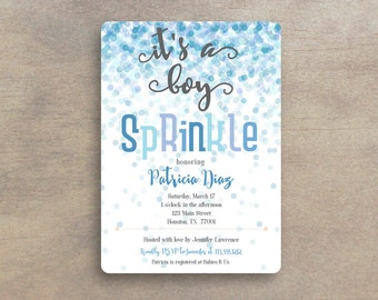 Baby Boy Sprinkle Invitation - Baby Boy Shower Invitation - Second Baby Sprinkle - Second Baby Shower - Printable Baby Shower Invitation