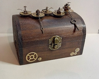 Embellished Steampunk Treasure Trinket Box