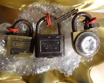 Lot of 3 Antique Padlocks, Yale and Towne, Slaymaker & Fraim, Each has a Key, All in Working Condition