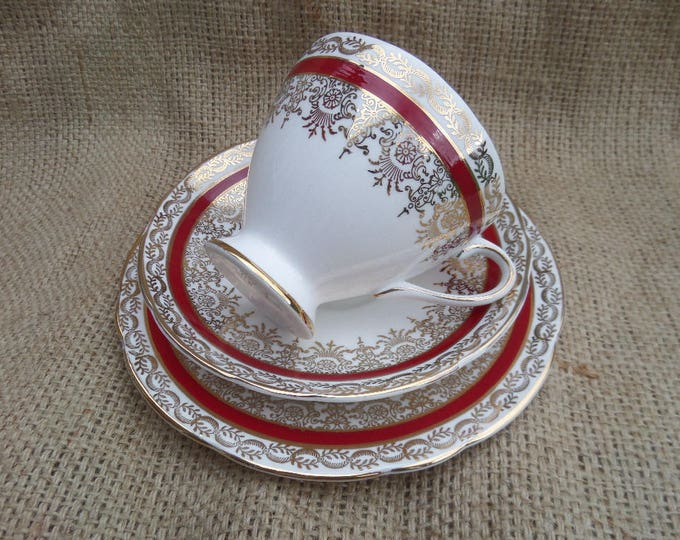 FREE SHIPPING Tea Trio, English Bone China, Tea Cup, Saucer, Sandwich Plate, Gladstone China, Crimson Red & Gold, 1939-61, Immaculate Unused