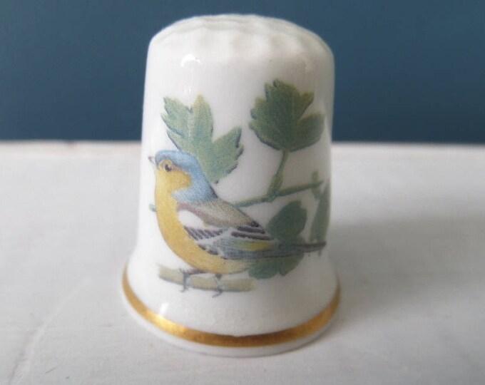 """Porcelain Thimble, English Garden Bird, Chaffinch, Bird Life, Fine Bone China, Made in England, Excellent Condition, 1"""" x 0.75"""", Circa 1970"""