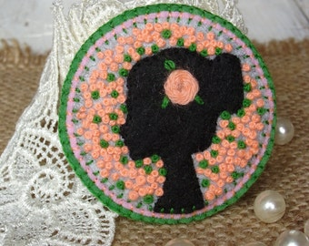 Valentines day gift Felt brooch Fiber art jewelry French knot jewelry Women image embroidery Textile brooch vintage style Textile art brooch