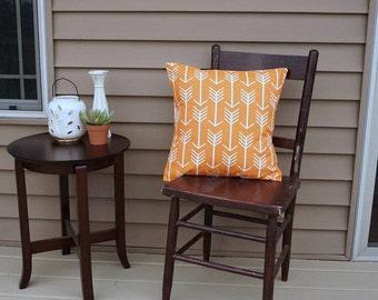 "Orange Arrows Pillow Cover, 18"" square, Premier Print Tribal Print, Envelope Closure, Instant Room Makeover Look, Arrow Room Decor"