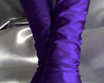 X Long spandex fingerless gloves Arm warmers dark purple