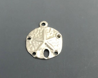 Medium Sand Dollar Charm, Sterling Silver