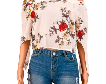 Long Sleeve Floral Off Shoulder Blouse Shirt - Khaki