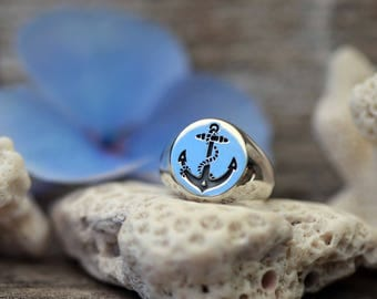 Anchor Signet, Womens Dainty Signet Ring, Sterling Silver