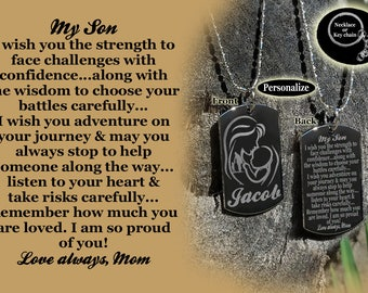 My Son Dog tag Necklace or Key Chain + FREE ENGRAVING