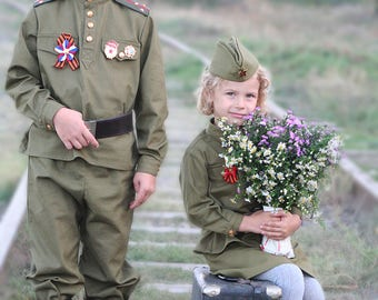 Military uniform for children. The times of the USSR World War II