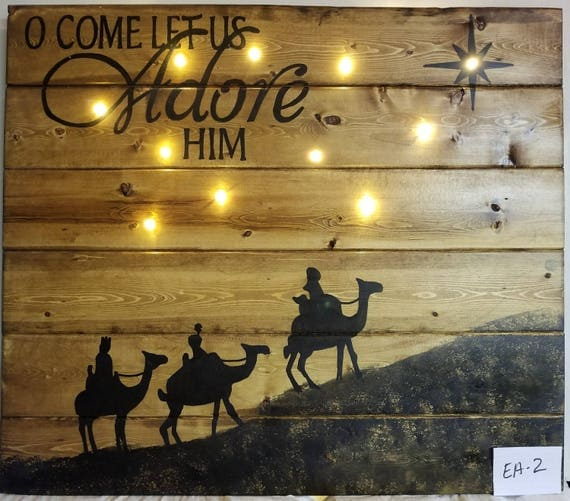 Oh Come Let Us Adore Him Wood Signs Christmas Signs Wood: O Come Let Us Adore Him Lighted Christmas Sign EA-2