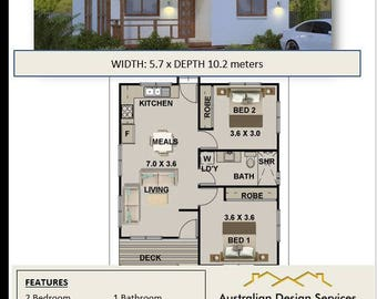 2 Bed +  Home Australian  Plans For Sale / on stumps and timber floor/63 New Age Design