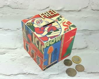 Personalised Christmas Money Box, Kids Gifts, Vintage theme, Stocking filler, Piggy bank, Christmas gifts, Decoupaged Box, Xmas Money Box