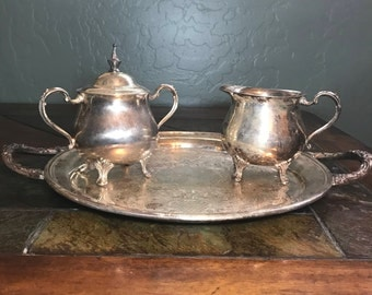 Sheridan Vintage silver plated serving tray with cream and sugar containers.