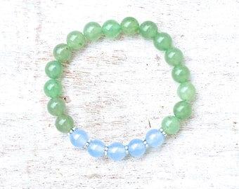 Beaded bracelet, Green Aventurine, Blue Chalcedony, Natural Gemstones, healing, beads, yoga jewelry, gift, meditation