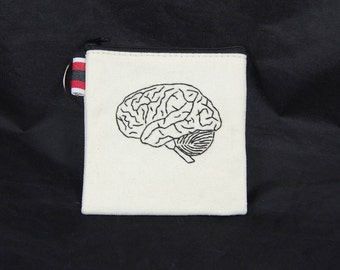 Black Brain Embroidered Pouch
