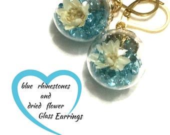 Blue Dried Flower Glass Earrings, Glass sphere Earrings,nUnique Rhinestone Earring Gift, Friendship Gift, Gold earrings, Free Local Shipping