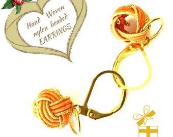 Miniature Tangerine & Gold Earrings, Dainty Hand Woven Earrings, Teachers Xmas gift, Student Gift, Ageless Earrings, Free  Local Shipping