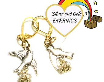 Silver and Gold Earrings, Bluebird Earrings, On Trend gift, Zirconia Earrings, Pretty Dainty Earrings, Sweet Gift, Anytime Gift,Unique Gift