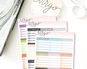 Weekly Goals Checklist Sidebar Stickers - Full Box Weekly Goals Planner Stickers - Choose Glossy or Matte Planner Stickers SWG