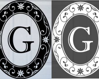"Oval Monogram Static Cling Front Door Decal 15"" x 19"" - Black OR White w/Clear Design"