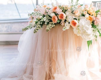 "Two Tone Tulle Chiffon Table Skirt / 57"" Extra Long Tulle Table Skirt"