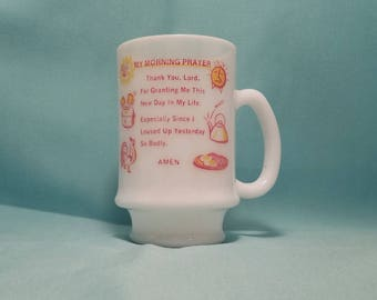 MUG COFFEE CUP Milk Glass My Morning Prayer Red Orange Yellow Funny Tall Kitchen Vintage Retro
