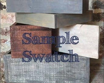 Wood color sample swatch