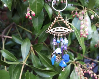 Periwinkle Garden Fairy Wind Chime with Vintage Jewelry Pieces - Fairy Garden Accessory WC-28