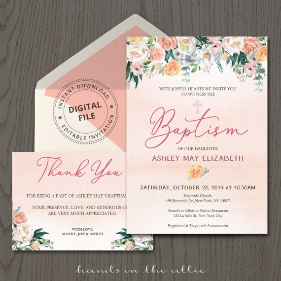 Printable baptism invitation template with thank you card