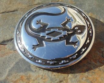 Southwestern Sterling Silver Round Lizard Overlay Pin / Brooch