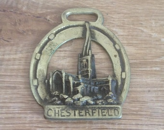 Vintage Horse Brass With Chesterfield Cathedral & The Twisted Spire / Steeple - Metal-Metalworking, Collectable.