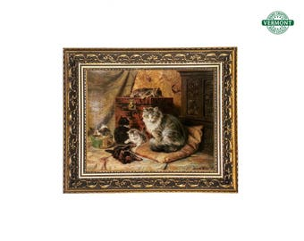"17x20 VINTAGE Gold Framed Canvas Print ""Proud Mother"" by Henriette Ronner Knipp, Ornate Gold, French, Cat, Kitten, Animal Art"