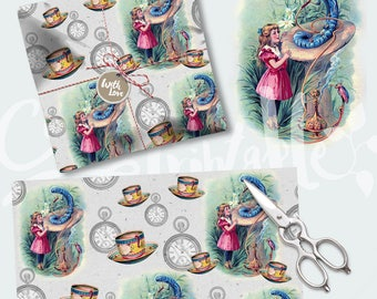 Vintage Alice in Wonderland Tea Time / Printable wrapping paper for Scrapbooking / 4 paper sheets / gift wrapping paper