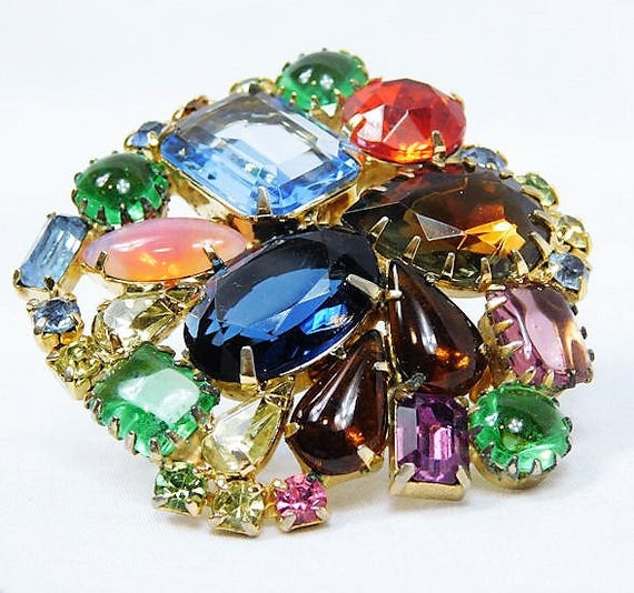 Verified Juliana Abstract Geometric Rhinestone Brooch / DeLizza & Elster