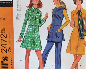 1970s Sewing Pattern - Vintage Dress, Top, and Pants Pattern - McCall's 2472 - Bust 38