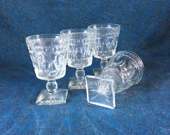 Vintage Indiana Colony Park Lane Water Goblets, Set of 4