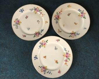 Vintage Union T Czechoslovakian Porcelain Floral Bread and Butter Plates, Set of 3, Union Porcelain
