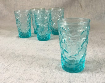 Vintage Morgantown Crinkle Blue Juice Glasses, Set of 5