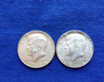 1968 D Kennedy Silver Half Dollar Old Coins for Collecting or Investing 40 Percent Silver Set of 2