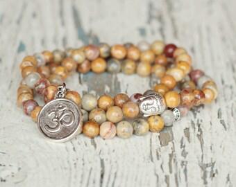 Buddha bracelet Mala bracelet beaded bracelet yoga energy jewelry meditation womens bracelet zen mens beads gemstone bracelet gift om charm