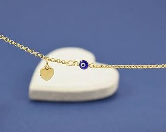 Greek Evil Eye Bracelet, Blue Evil Eve Bracelet, Evil Eye Bracelet Gold, Evil Eye Jewelry, Evil Eye Heart Bracelet