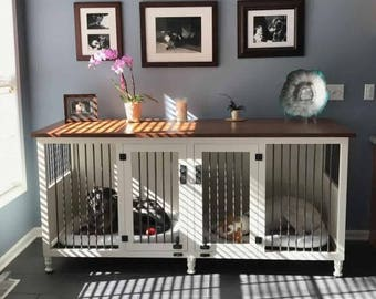 Dog Kennel, Painted Bottom, Stain Top, Handmade