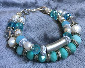 Fresh Water White Pearl with Aqua, Blue, Teal and White Beads, Silver and Metal Two Strand Bracelet