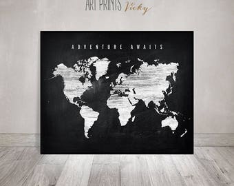 World map print etsy adventure awaits large world map print world map poster chalkboard art distressed gumiabroncs Gallery