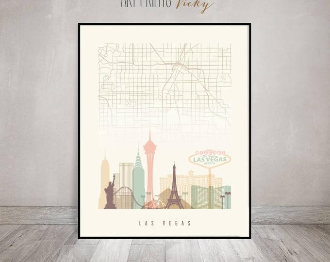 Las Vegas map, Las Vegas skyline, Las Vegas print, wall art, Poster, Wall art, Nevada, City prints, Travel, Home Decor, ArtPrintsVicky.