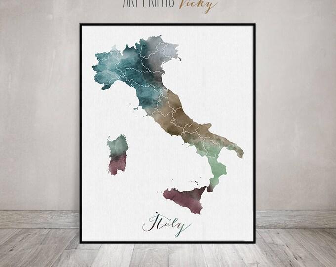 Italy watercolor map, Italy Wall art, Italy map poster, Italy watercolor print, Italy map poster, Italy painting, Fine art ArtPrintsVicky