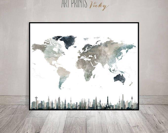 unique world map print in earth colours  | ArtPrintsVicky.com